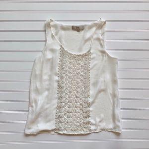 LOFT White Crochet Sleeveless Blouse Size XS
